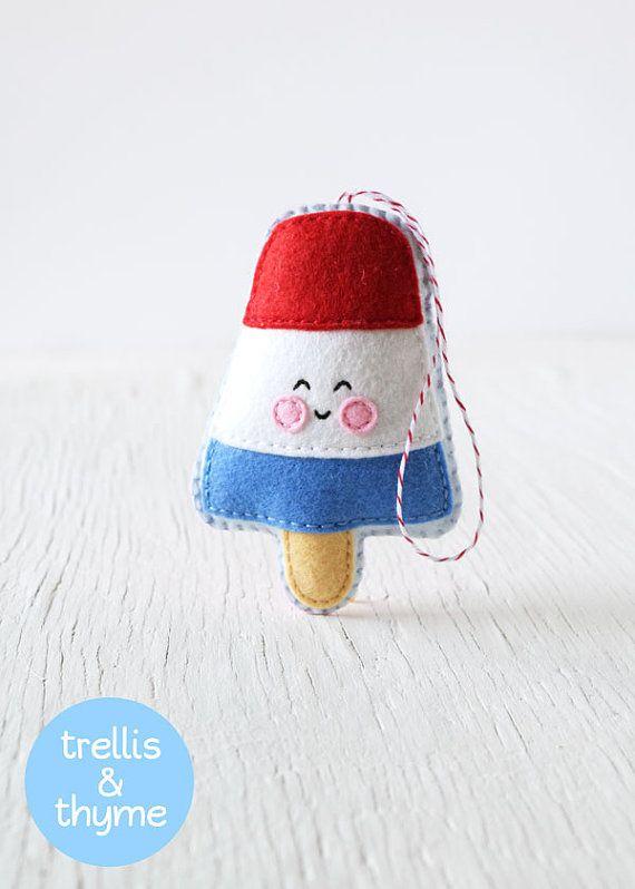 PDF Pattern - Rocket Pop Pattern, Kawaii Felt Ice Cream Ornament Pattern, Felt Softie Sewing Pattern, Felt Toy Pattern