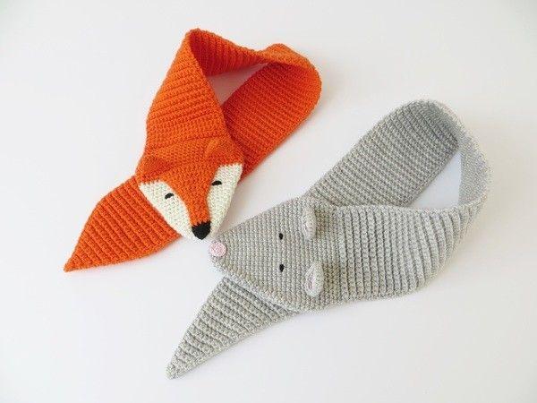 Kinderschal Mit Tiermotiv Fuchs Und Maus Gehäkelt Kinder Lieben