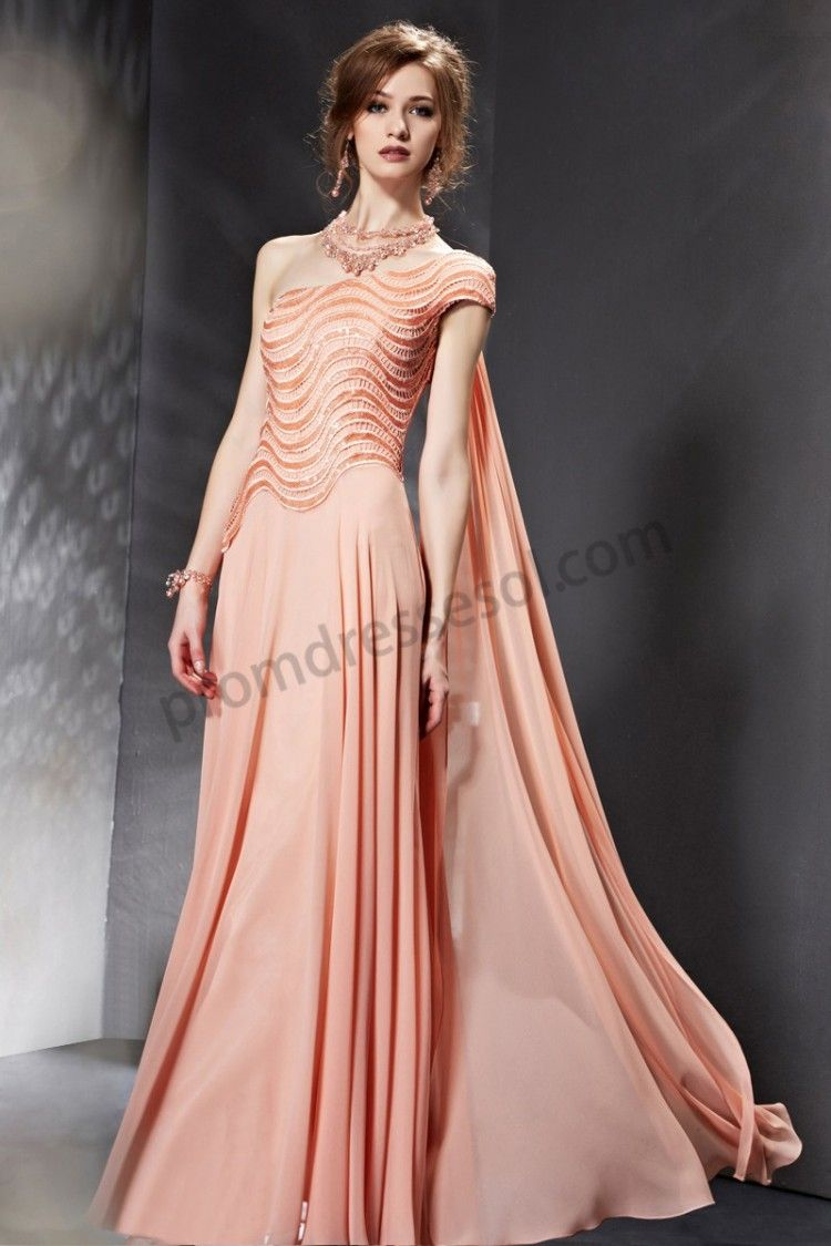 Orange one shoulder sequined side draped chiffon ball dress s
