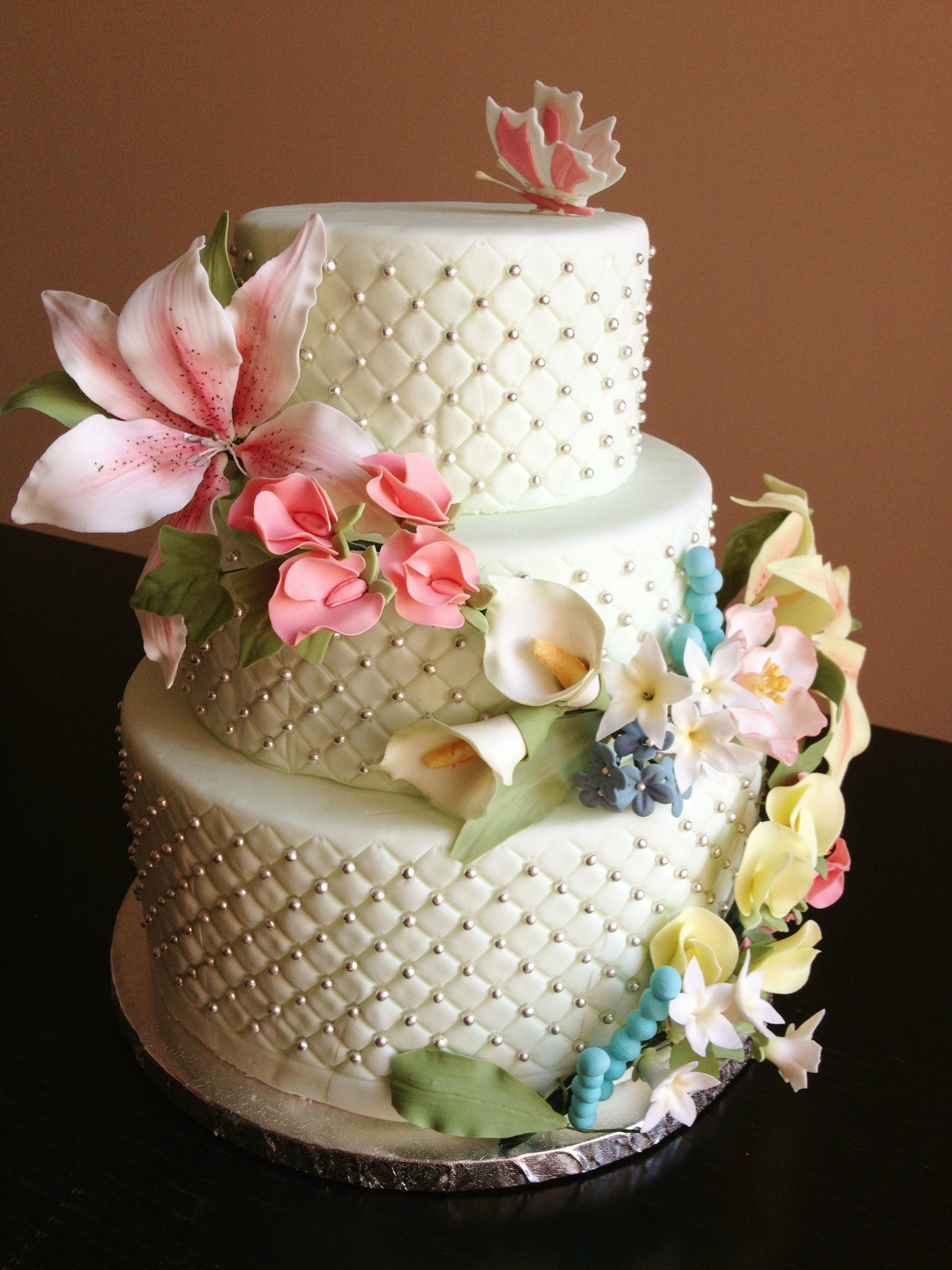Fondant 3 Tier Cake With Gum Paste Flowers Stargazer Lily