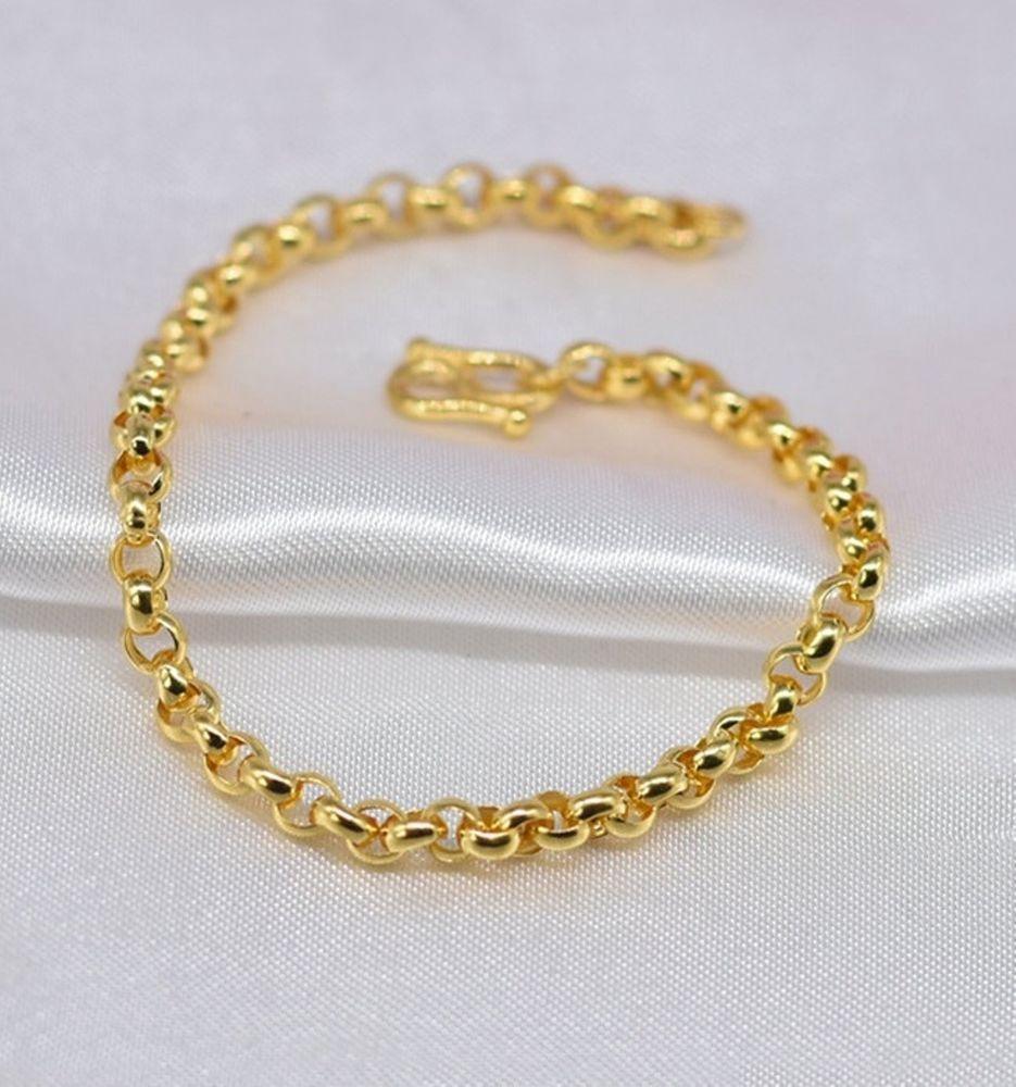 Onsale pure k yellow gold bracelet mm fine rolo link woman