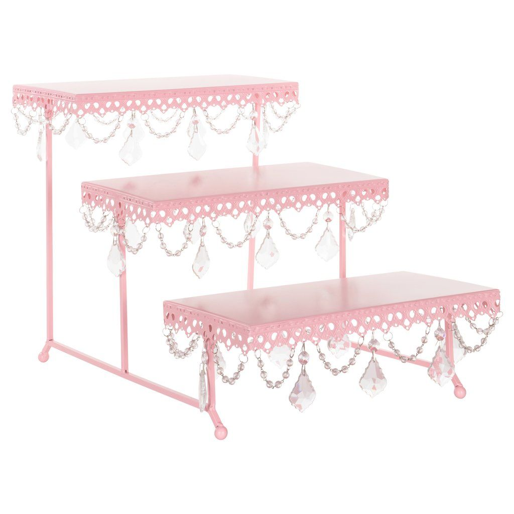 3 Tier Serving Platter And Cupcake Stand With Crystals Pink Cake And Cupcake Stand Cupcake Stand Pink Cupcake Stand