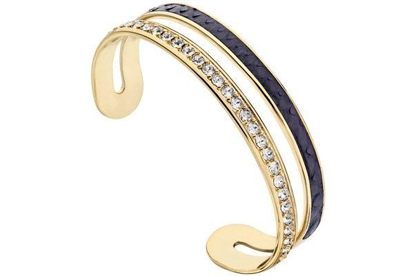 a3efc0067b7f Bracelet manchette Interlude plaqué or 18K, brillants, cuir, Ø60mm Nina  Ricci