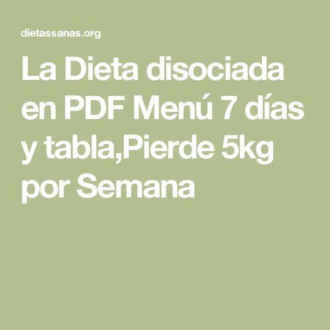 Dieta disociada 30 dias tabla