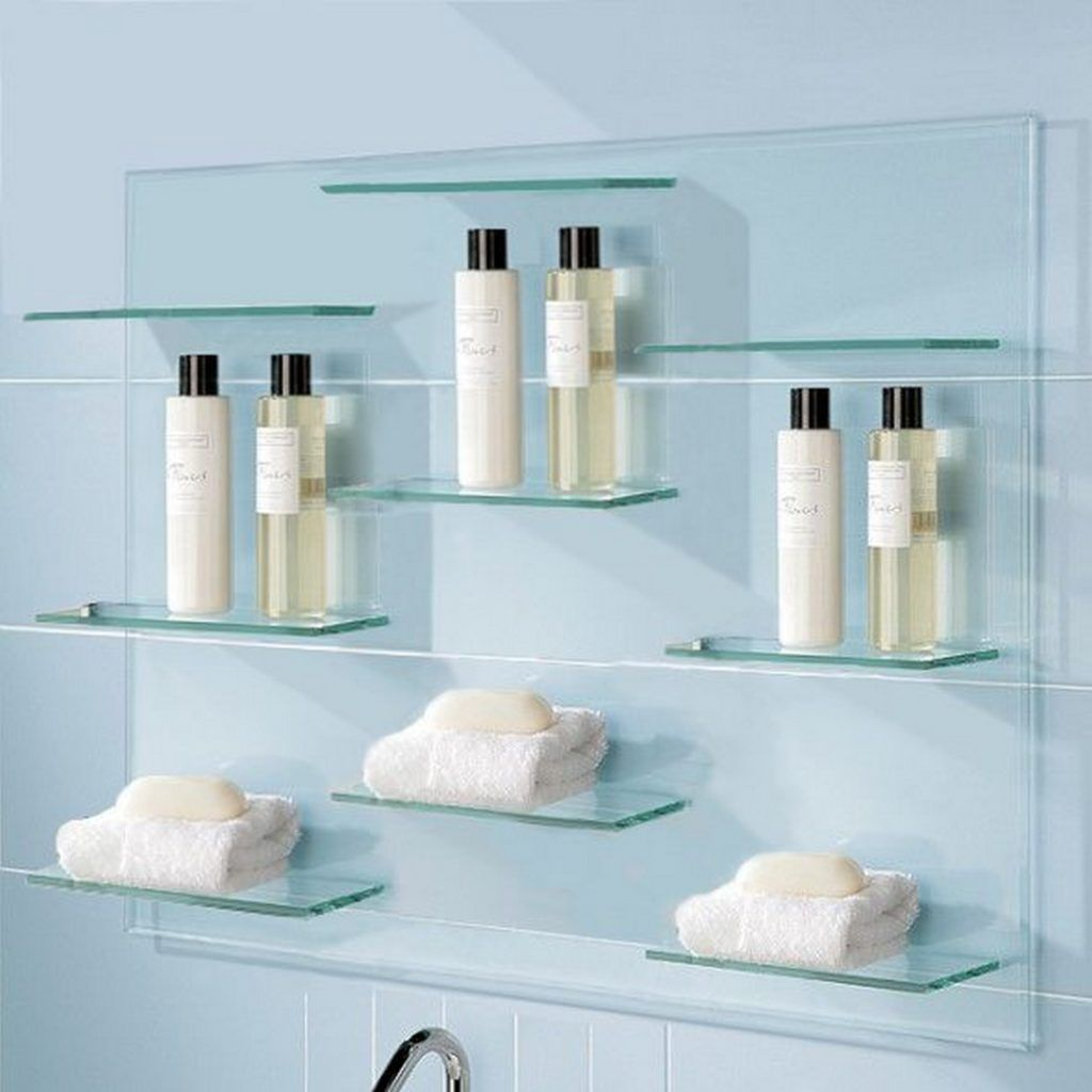 Chrome and glass bathroom wall shelves | Bathroom shelves ...