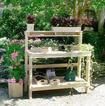 Amazon Com White Cedar Potting Bench Patio Lawn Garden