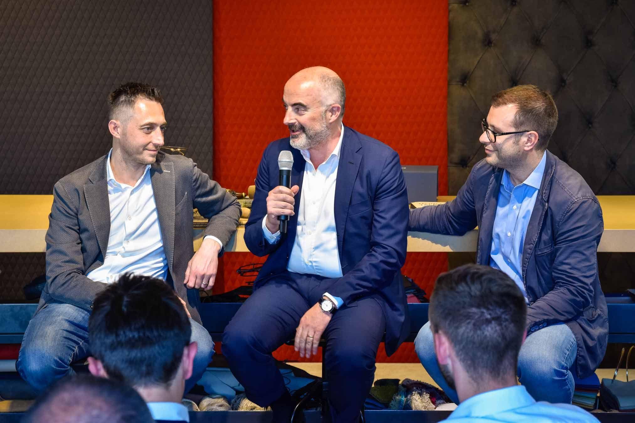 Filippo Berto, Stefano Micelli and Francesco Cancellato in our Showroom in Meda, Brianza