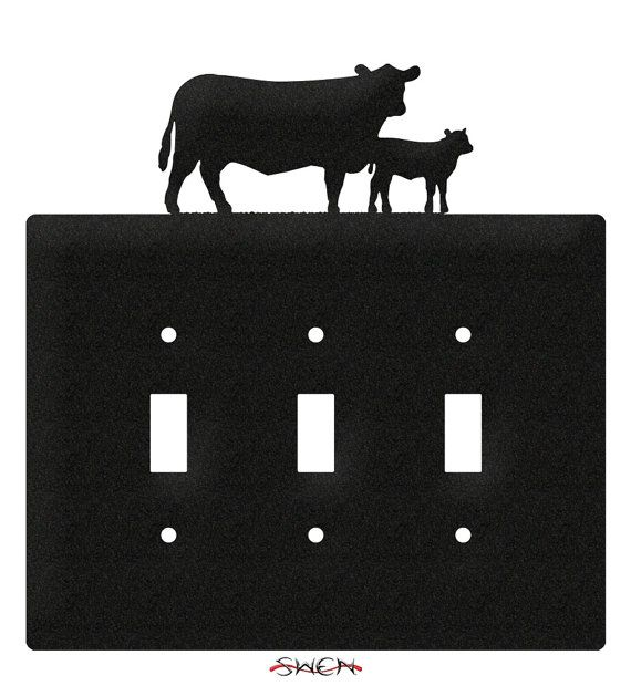 Cow and Calf Steer Light Switch Triple Plate Cover by swenproducts