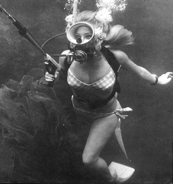 vintage woman Underwater
