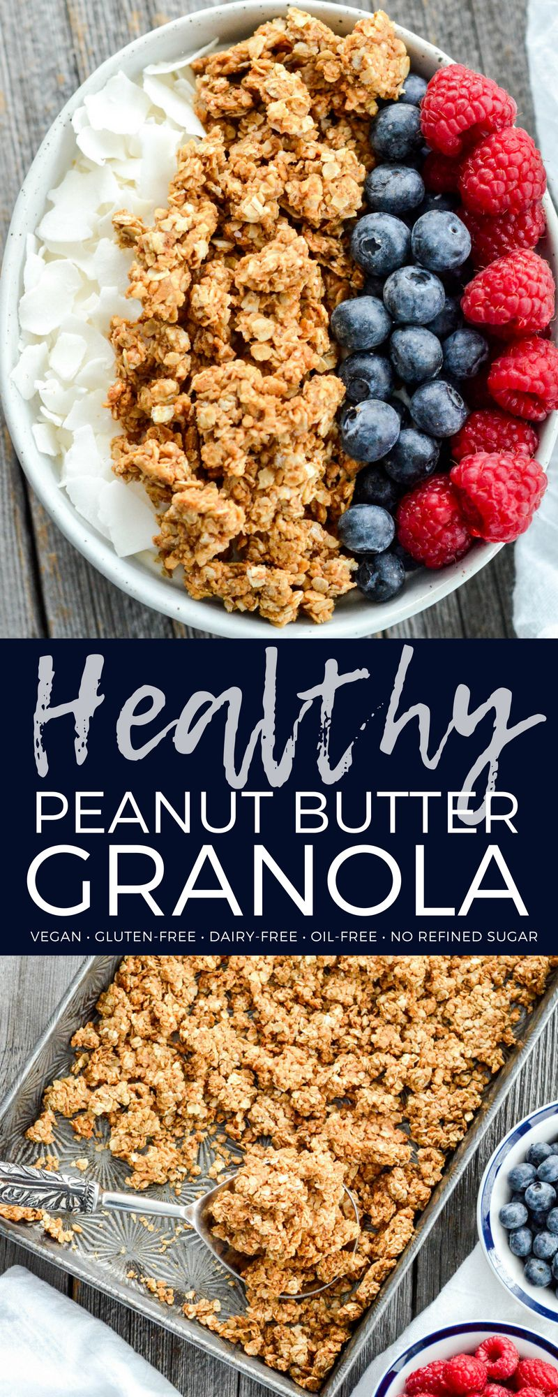 This Healthy Peanut Butter Granola is the perfect make-ahead breakfast recipe! With only 6 ingredients it's so easy to make (ready in less than 30 minutes)! Gluten-free, dairy-free, refined sugar free, oil free and vegan! #healthygranola #peanutbutter #breakfast #recipe #granola #glutenfree #vegan #dairyfree via @joyfoodsunshine #glutenfreebreakfasts