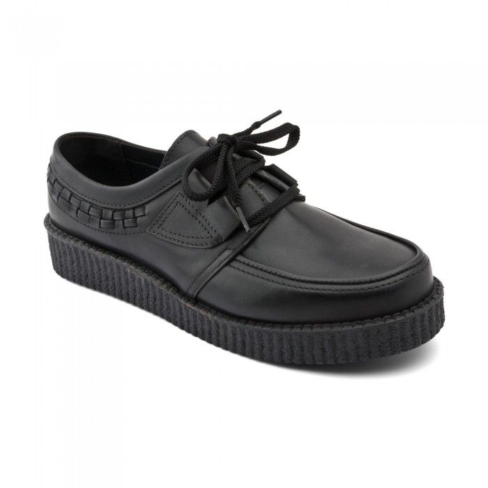 Creeper, Black Leather Girls Lace-up