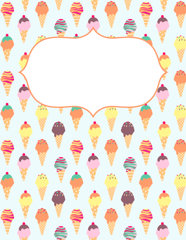 Notebook Cover Printable ~ Free printable ice cream binder cover template download