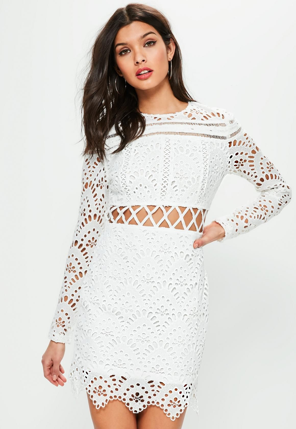 Missguided white lace long sleeve cross waist dress umisguided