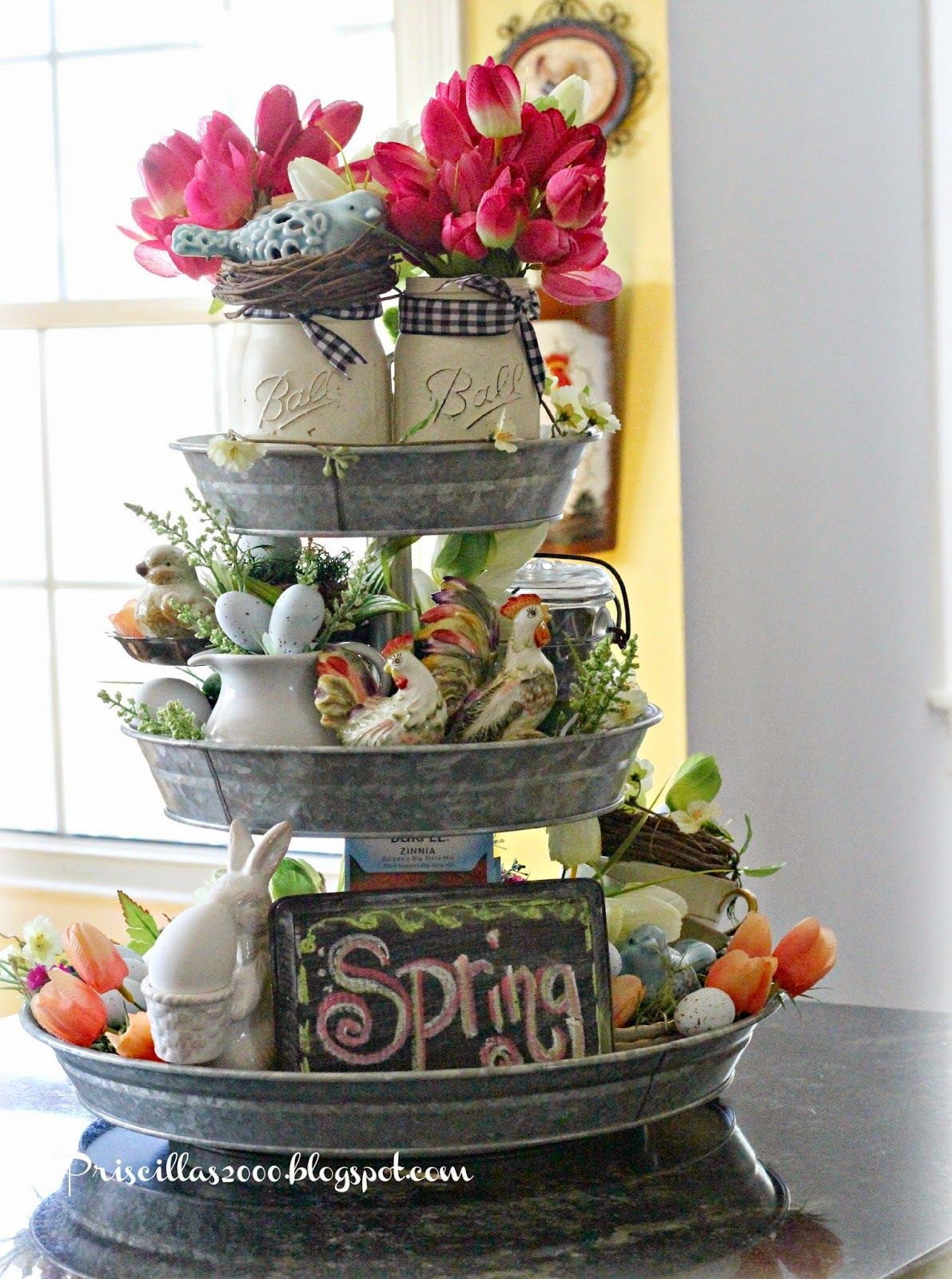 Spring Galvanized Centerpiece Galvanized Decor Tray Decor Spring Decor