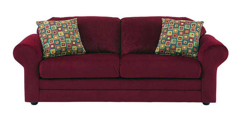 Farah Sleeper Sofa -- A simplistic way to add a shade of regal, deep red to the living room as well as extra bedding. || furniture.cort.com