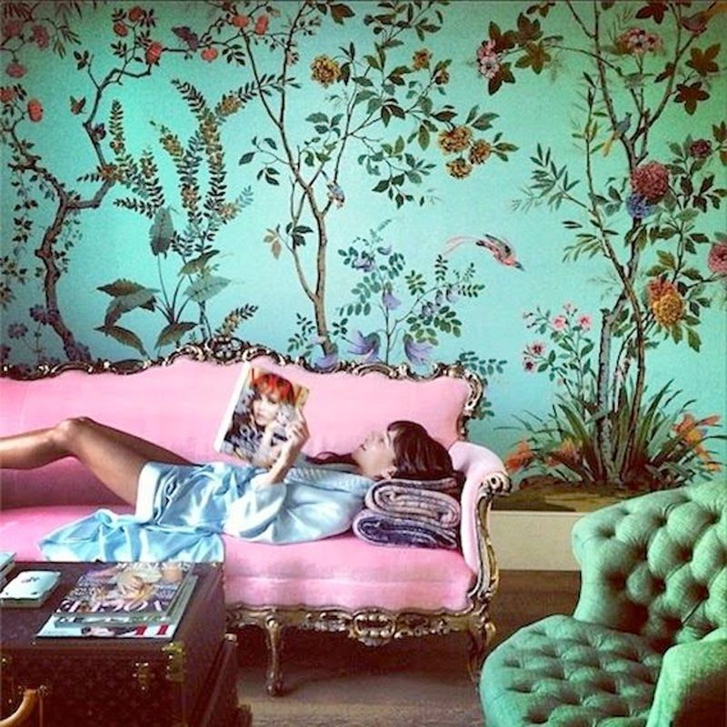Pink + Green Interior | Decor, Chinoiserie, Pink sofa