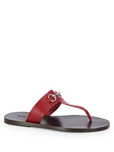 Gucci - Marcy Leather Horsebit Thong Sandals - Saks.com