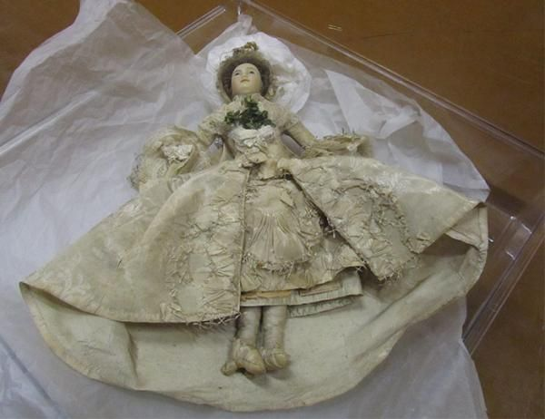 Doll in wedding dress, unknown maker, dressed by the Powell Family, England, 1761-1800. Museum no. W.183-1919. Gift of Mr H.J. Powell. © Vic...