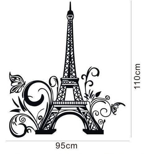 tall eiffel tower wall decal huge paris city sticker decor wall sayings decal vinyl. Black Bedroom Furniture Sets. Home Design Ideas