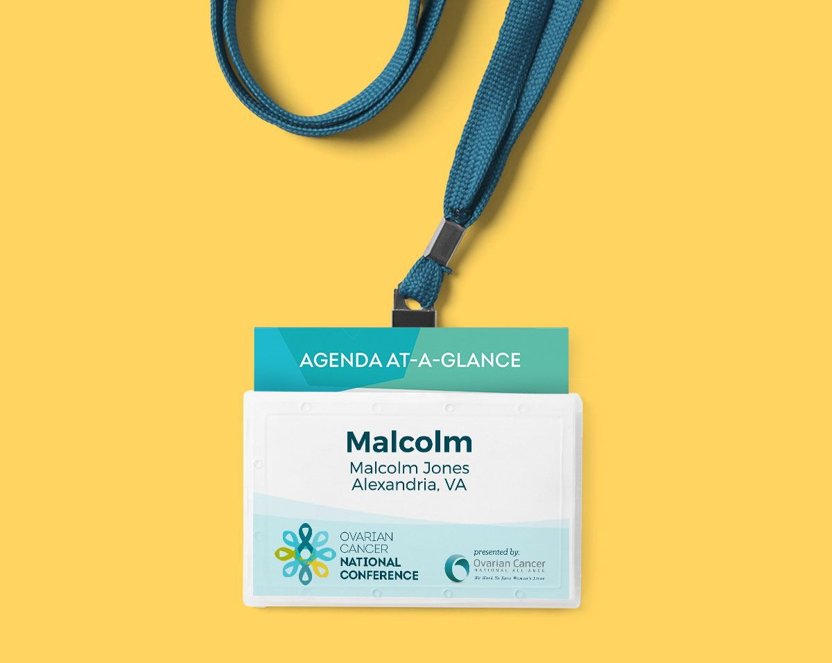 print design sample of conference attendee badge with pocket agenda