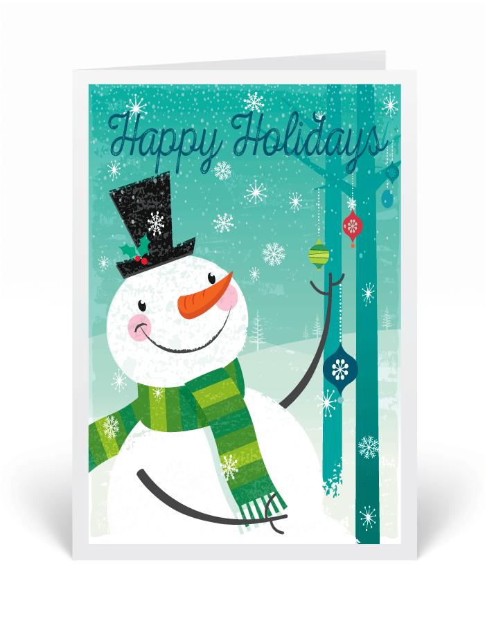 Snowman Retro Christmas Holiday Greeting Cards, printed Christmas ...