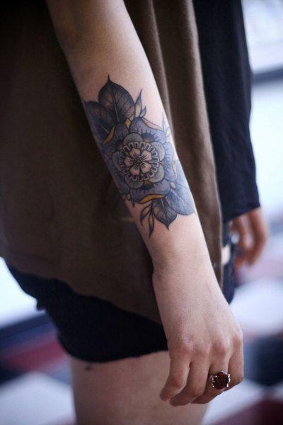 Cute Floral Arm Tattoo Idea