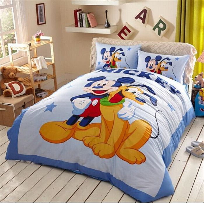 Cute Mickey And Pluto Bedding, Disney Bed Sheets Queen Size