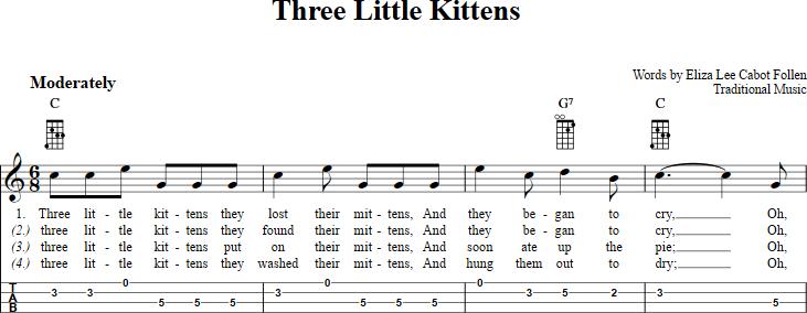 Three Little Kittens Sheet Music For Mandolin With Chords Lyrics