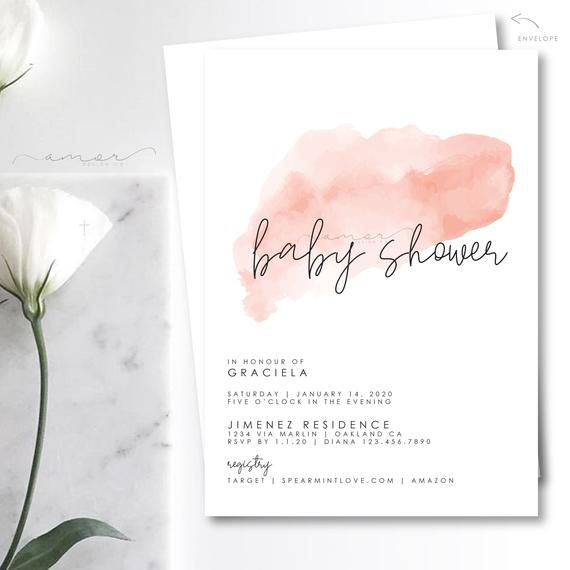 Modern Minimalist Blush Watercolor Baby Shower Invitation, Pink watercolor minimalist invitation, So