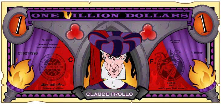 Disney Dollars One Villion Dollars Frollo Disney Villains
