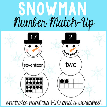 Snowman Number Match Up For Numbers 1 20 Numberstandard Form Word