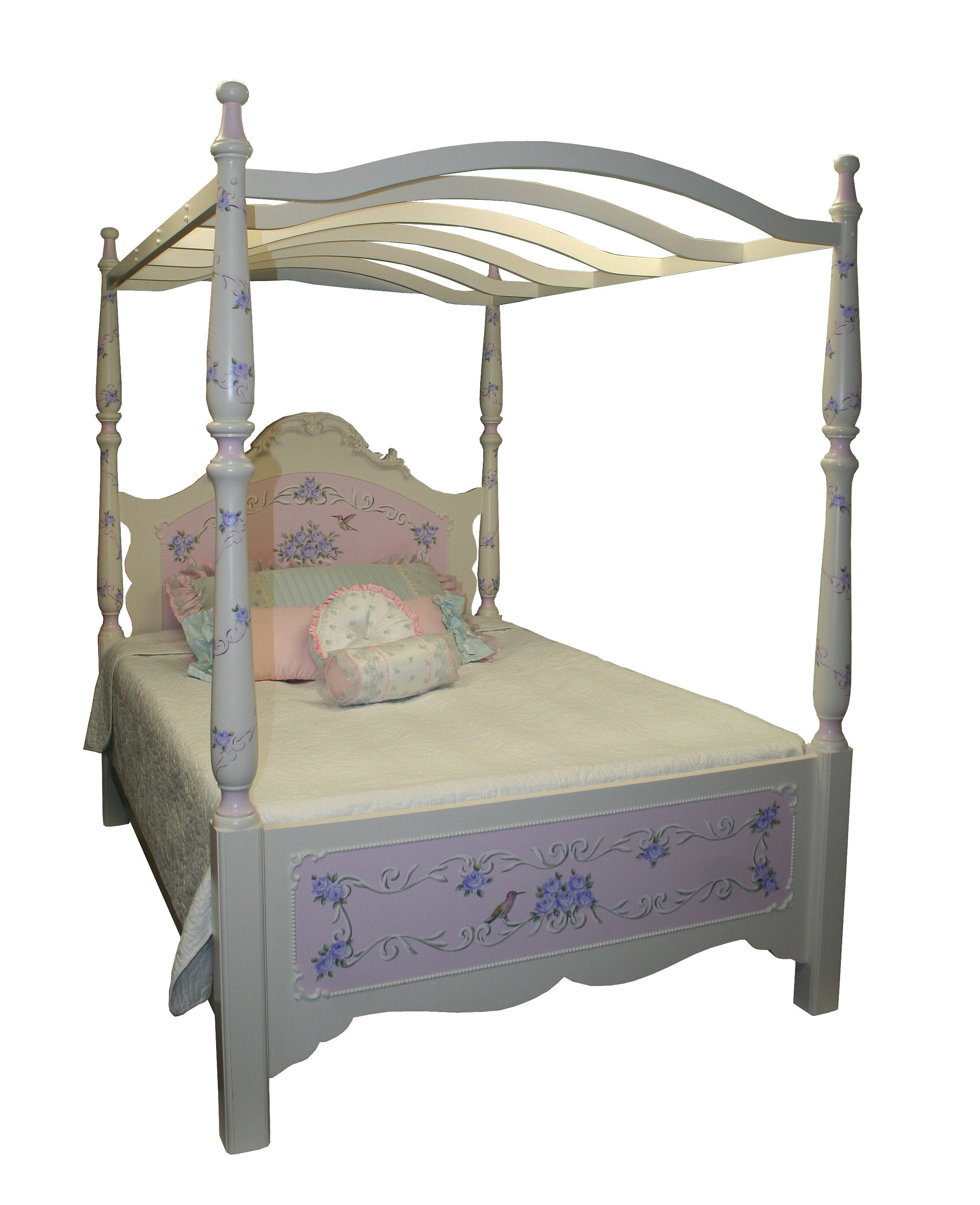 Hand painted simply elegant canopy bed childrens for Elegant canopy bedroom sets
