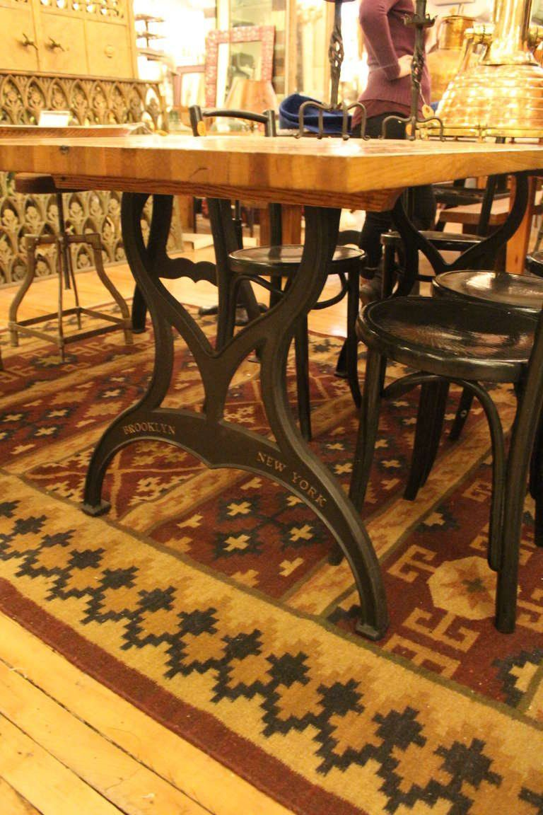 Industrial Pair Of Ductile Iron Table Legs With Brooklyn NY Raised Lettering