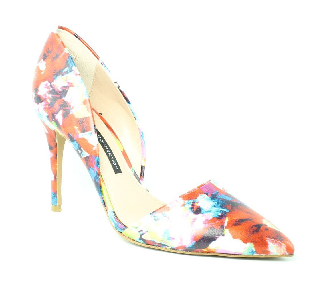 French Connection Women's Elvia Dress Pump, Fractural Floral, 41 EU/10 M US. D'orsay pump with pointed toe featuring wrapped high heel.