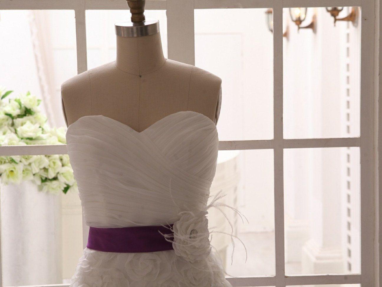 Strapless Organza 3D Rosette Flower Wedding Dress Bridesmaid Dress Knee Length Short Dress with flower sash by misdress on Etsy https://www.etsy.com/listing/155945908/strapless-organza-3d-rosette-flower