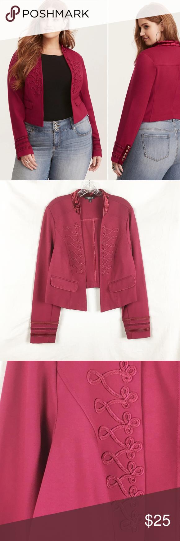 d801a30a09a Torrid Military Style Jacket Velvet Trim Size 2X Torrid burgundy