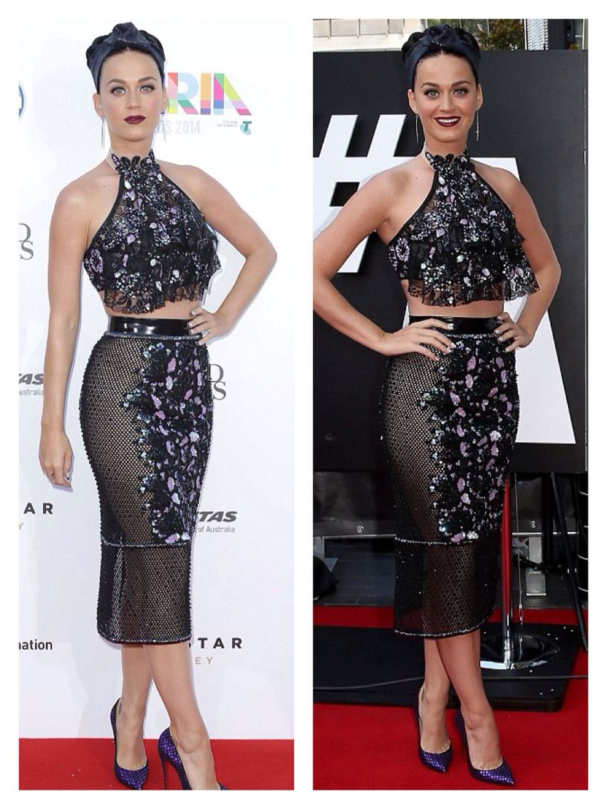 Katy Perry at the 2014 Aria awards in a Jamie Lee Major outfit