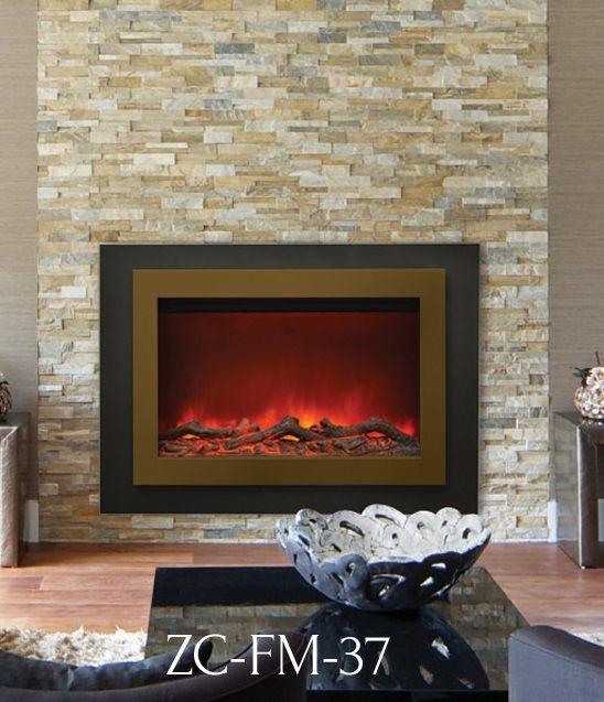 Sierra Flame Zc Fm 37 Electric Fireplace Insert With Optional Custom Trim Colour Fireplace Electric Fireplace Living Room Fireplace Design