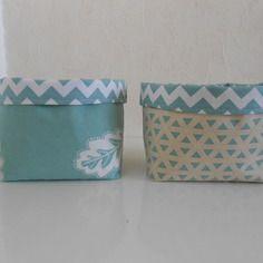 Paniers de rangements en tissu vert d'eau (vendus)