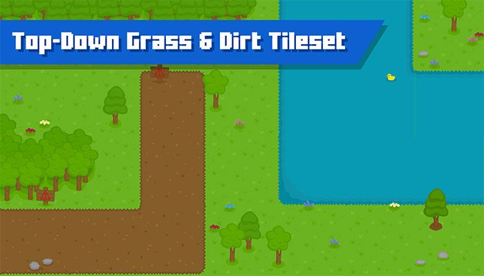 Top-Down Grass, Dirt, Water and Snow Tileset | 2D Game