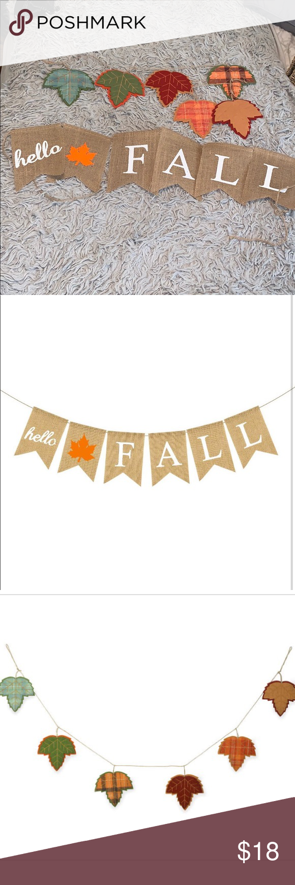 Fall leaf garland and burlap fall banner set #leafgarland