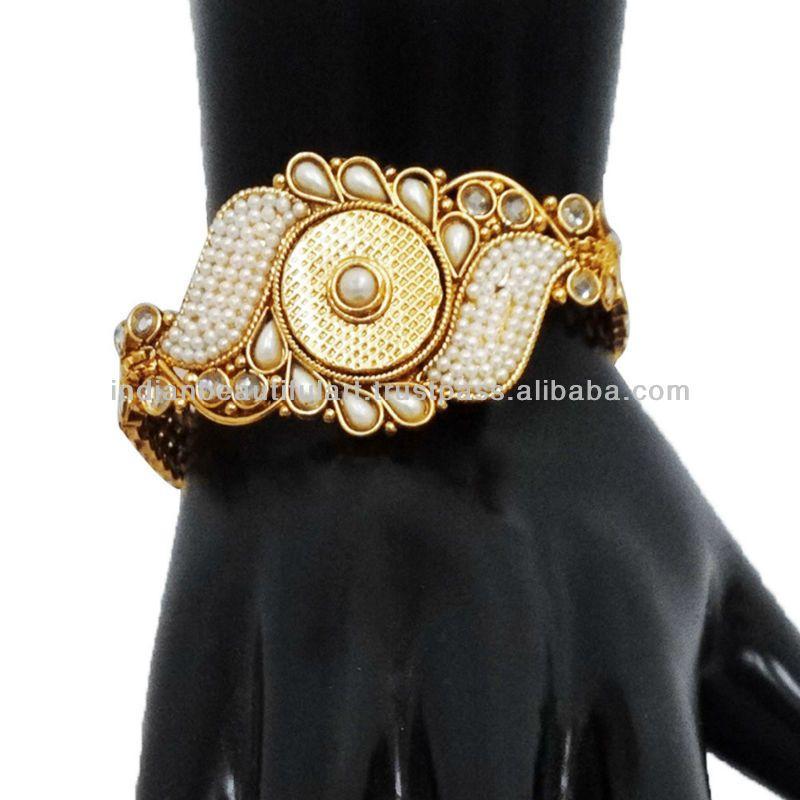 Kundan Polki Jewellery | ... GOLD TONE WHITE PEARL WEDDING BRACELET INDIAN POLKI KUNDAN JEWELRY