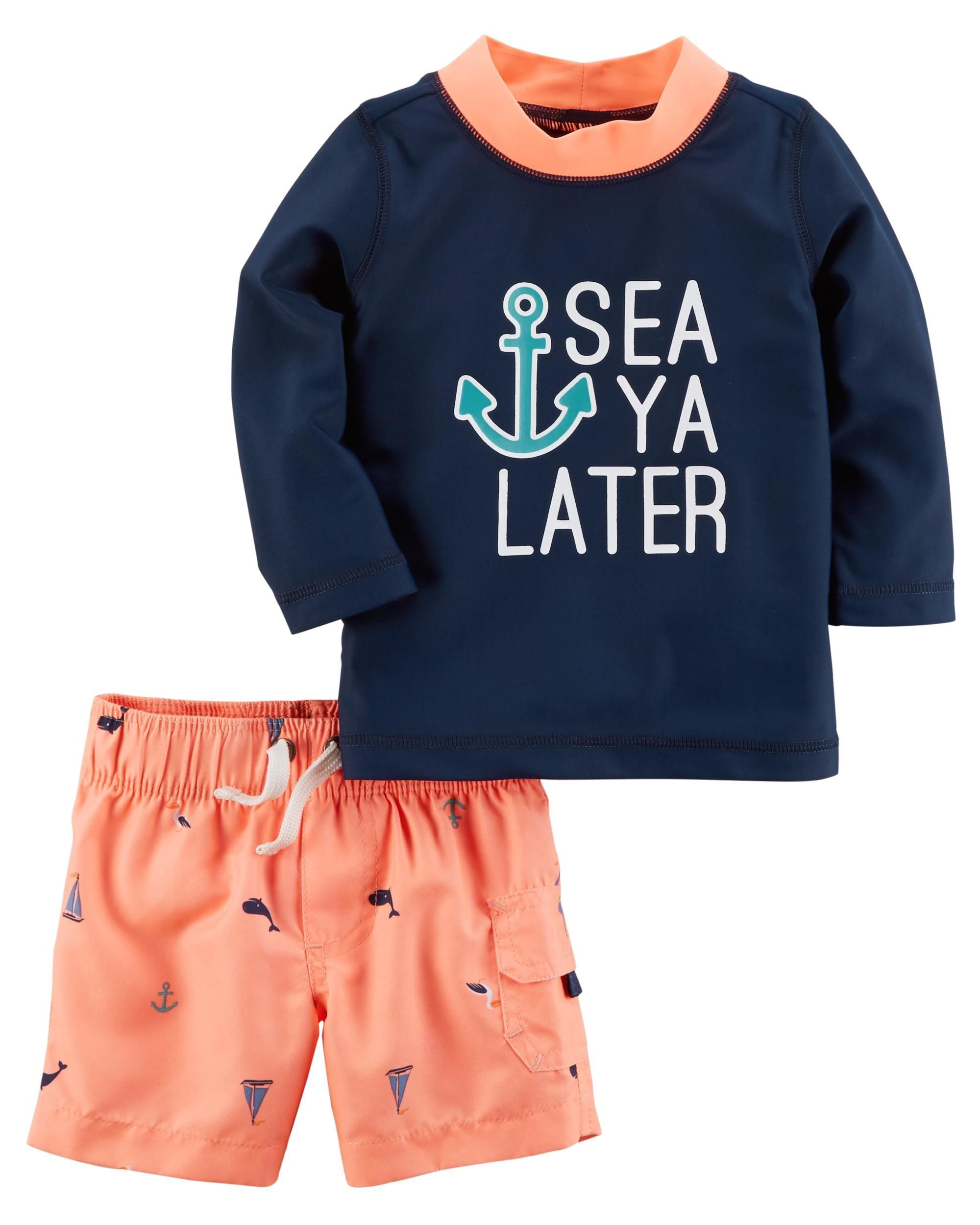 6fafb2e1eb 2-Piece Rashguard Set | Kids clothing | Carters baby boys, Baby boy ...