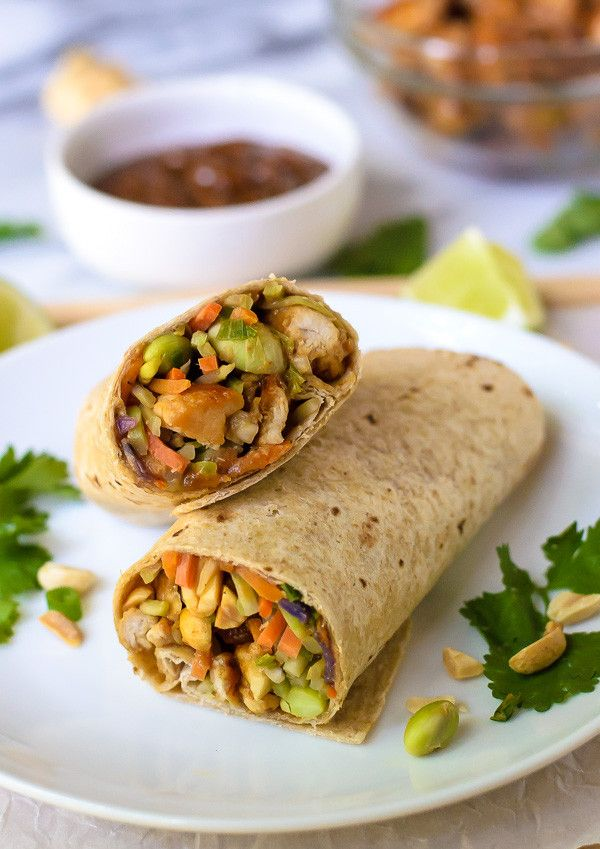Asian Chicken Wraps with Thai Peanut Sauce: Wraps > sandwiches because dipping sauces.