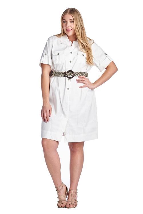 865f0342c24 Women s Plus Size Button Down Belted Shirt Dress