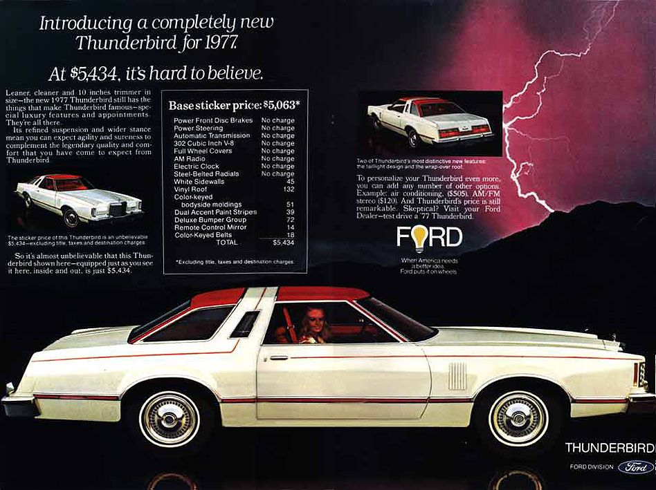 Ford Thunderbird  Old Car Ads Home  Old Car Brochures  Old