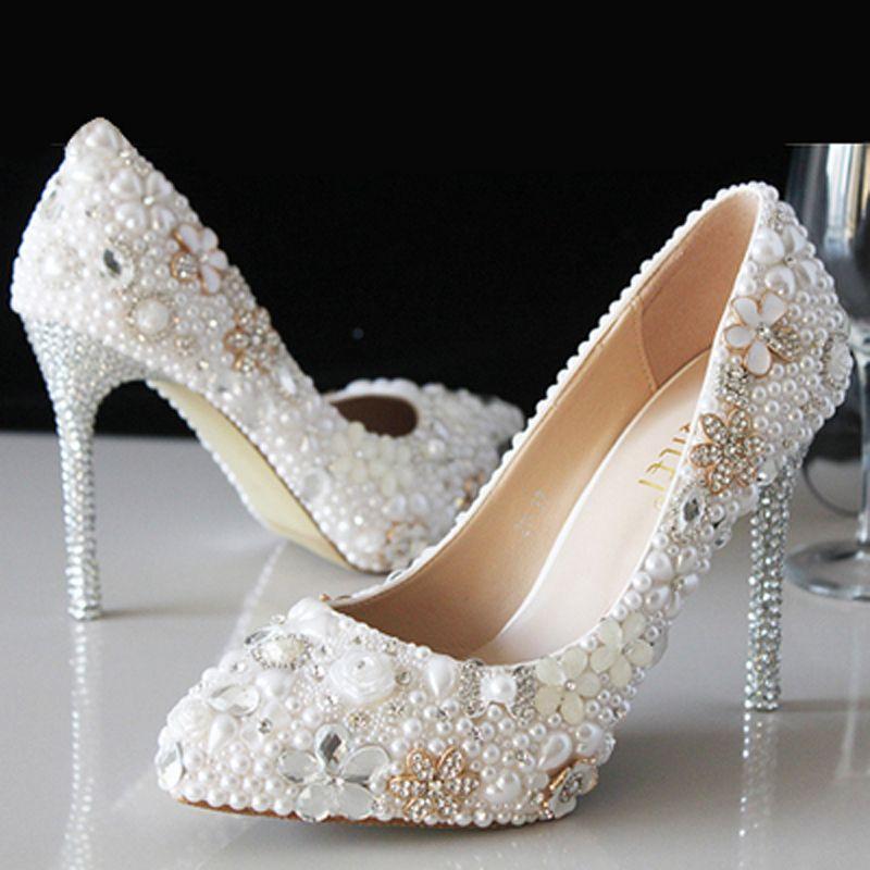 White Pearl Shoes Crystal Wedding Dresses Bridal Shoes Diamond
