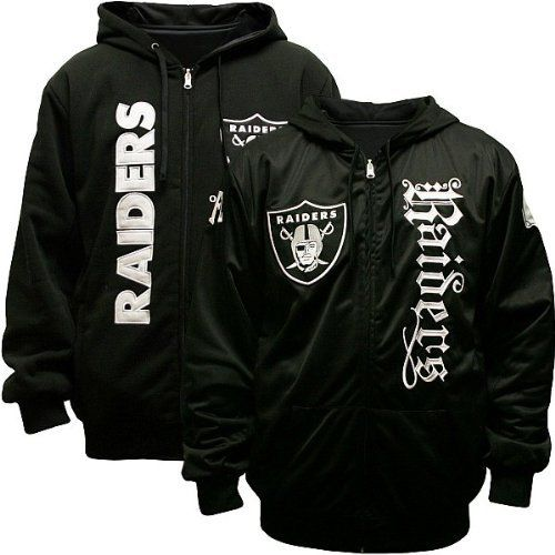 NFL Men s Oakland Raiders Heritage Reversible Hooded Sweatshirt (Black Black)  MTC 9dd1381bae2