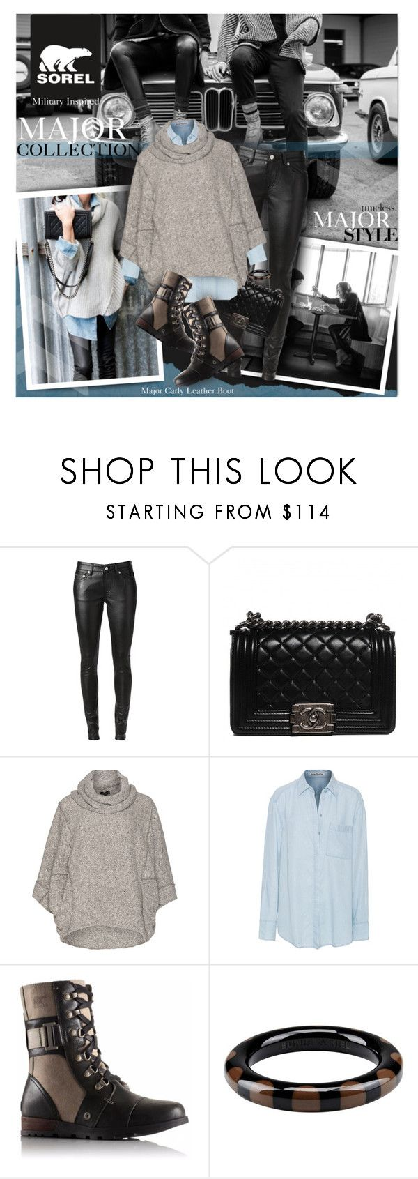 """""""The Major Collection from SOREL"""" by mew-muse ❤ liked on Polyvore featuring SOREL, Trilogy, Yves Saint Laurent, Chanel, J Brand, Bohème, Acne Studios, Armani Privé, Sonia Rykiel and sorelstyle"""