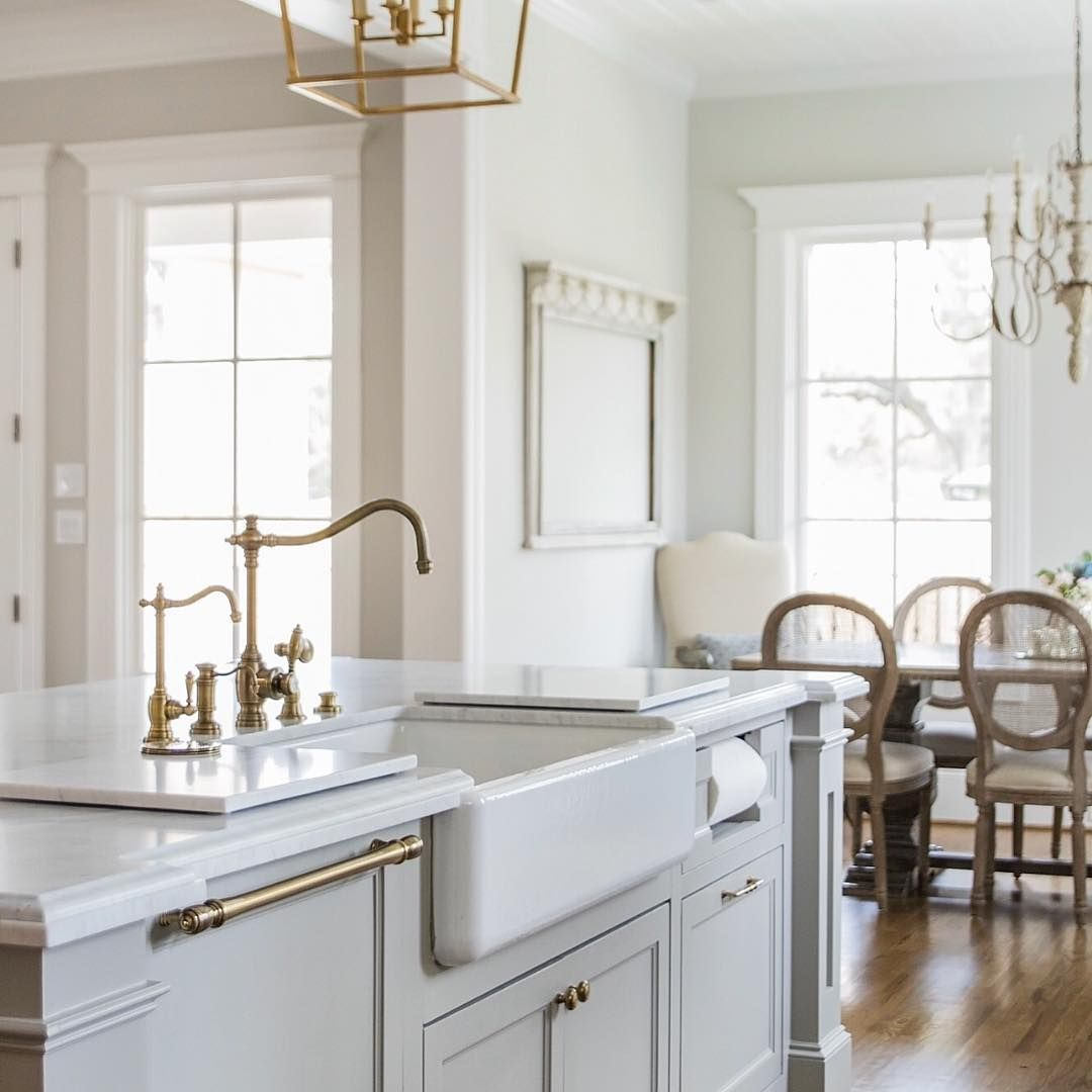 Transitional kitchen with gray cabinetry and timeless ...